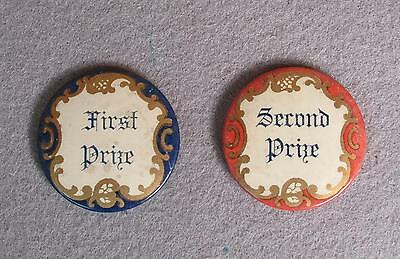 Vintage Antique Sports Competition 1st & 2nd Place Pins Buttons Early 1900's