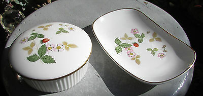 Vintage Wedgwood Wild Strawberry Trinket Box & Dish