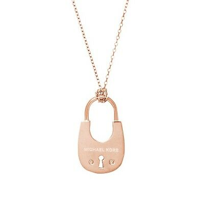 Michael Kors Rose Gold Tone Padlock Cityscapes Necklace WITH TAGS & POUCH NEW