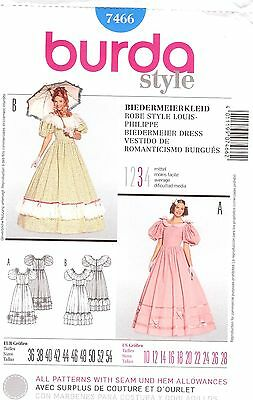 PATTERN for Southern Belle dress Historical Burda 7466 sz 10-28 Victorian Gown