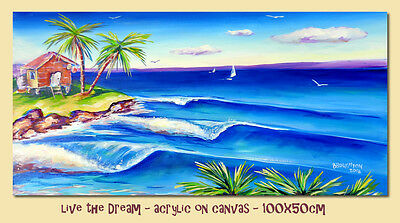 DEBORAH BROUGHTON ART Original Painting - Ocean Seascape Surf Beach Canvas