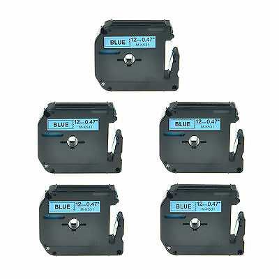 """5PK 1/2"""" Black on Blue Lable Tape MK531 M-K531 M531 For Brother P-touch 110 65"""