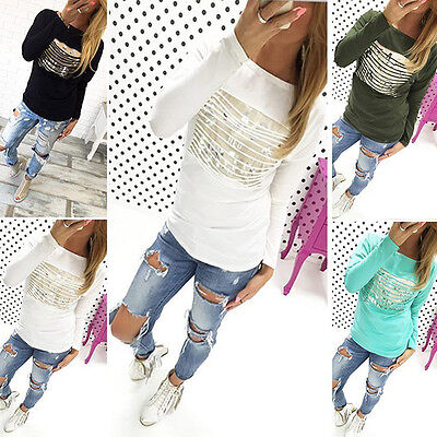UK Fashion Womens Loose Pullover T Shirt Long Sleeve Cotton Tops Blouse Print