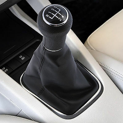 Universal Manual Car Gear Stick Shifter Shift Lever Knob Cover Leather 5 Speed