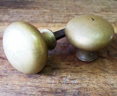 Architectural Antique - Pair Old/Reclaimed Vintage Heavy Brass Door Handle/Knobs
