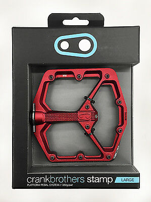 """New Crank Brothers Stamp Flat / Platform 9/16"""" Bike Bicycle Pedals - Red Large"""