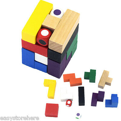 Colorful Magic Cube Style Puzzle Educational Wooden Interlock Toy Birthday Gift