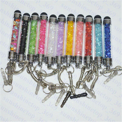 Crystal Stylus Touch Screen Pen Anti Dust Cap Plug For iPhone Samsung HTC LG