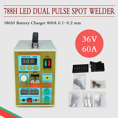 0.1-0.2 Mm 36V 60A 788H Led Dual Pulse Spot Welder 18650 Battery Charger 800A