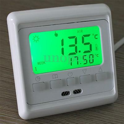 Green LCD Display Programmable Heating Thermostat Room Temperature Controller