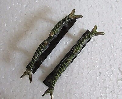 Vintage Style Handcrafted Fish Design A Pair Brass Door Handle Pull