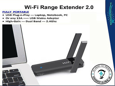 USB WiFi Range Extender / Repeater / Booster 300Mbps Hi-Gain Dual-Band 2.4Ghz