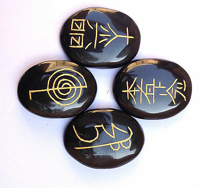 Beautiful Usui Reiki Symbol Carved Black Agate Four Stones Set Gift Women Men