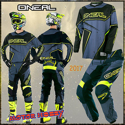 Completo Cross Enduro O'neal Element Racewear Nero Grigio Giallo 2017 Tg 30 - M