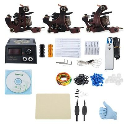 New Professional Tattoo Kit 3 Machine Gun Liner 20 Pigments Power Supply System