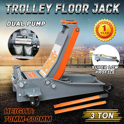 New 3 Ton 3T Hydraulic Trolley Floor Jack Dual Pump Super Low Profile Quick Lift