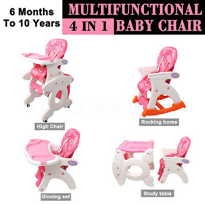 4 in1 Adjustable Kids Study Table High Chair Dinning Set Rocking Horse Feed Baby