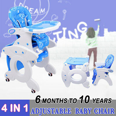 4in 1 Baby Kids High Chair Dinning Set Rocking Horse Study Table Feed Adjustable
