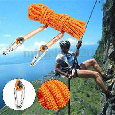10M 12KN Safety Auxiliary Rope Climbing Protection Rope Rescue Gear Carabiner