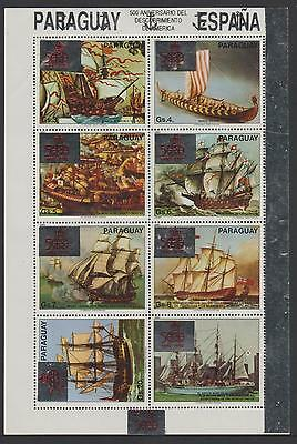 L2048 - PARAGUAY - 1989 Discovery of USA overprinted Sailing Ships S/S. MNH