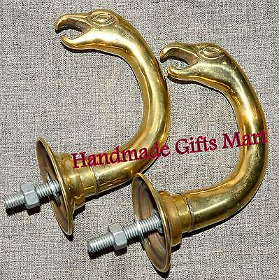 Set 2 pcs Antique Solid Brass Handmade Style Retro Entry Door Handle