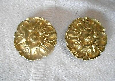 Pair Antique french Brass Nail Covers plaques Mounts Finials