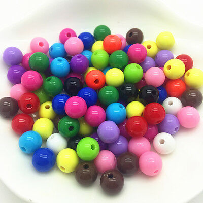 NEW DIY 4/5/6/8/10/12/14mm Acrylic Round Pearl Spacer Loose Beads Jewelry Making