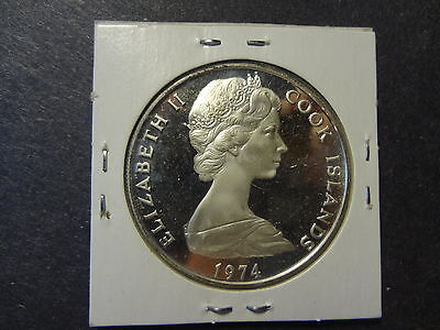"""Cook Islands 1974 Silver $2 & 1/2 Dollars """" James Cook's Second Pacific Voyage """""""