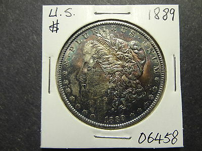 Us 1889 Silver Morgan Dollar, Awesome Rainbow Toning, Lusrous Choice Unc !