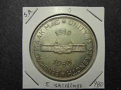 """South Africa 1960 Silver 5 Shillings, """"parliament,unity Is Strength"""" Choice Unc"""