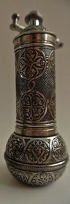 """SHINY SILVER color,8.6 /"""" TURKISH EMBOSSED COFFEE//ESPRESSO GRINDER MILL,Straight"""