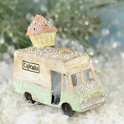Metal Cupcake Mint Pastel Green & Pink Truck Cody Foster Christmas Ornament G08