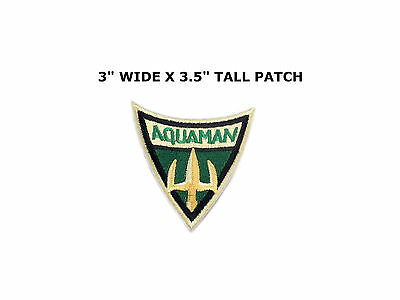 """AQUAMAN 3"""" x 2.5"""" Fully Embroidered Yellow Insignia Buckle sized Patch"""