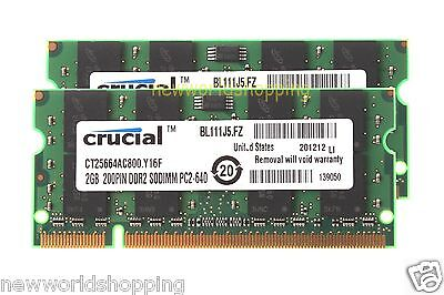 Crucial 4GB 2X 2GB PC2-6400 DDR2 800Mhz Sodimm Laptop Notebook Memory RAM PC6400