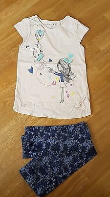 Girls Top and Trouser Set - Blue Flower Jeggings - Cream T-Shirt - Age 5-6 years
