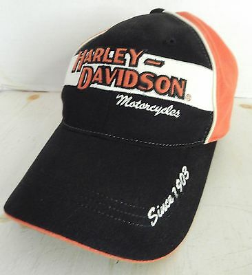 Harley Davidson Motorcycles Since 1903 Baseball Cap No Strap Black Orange