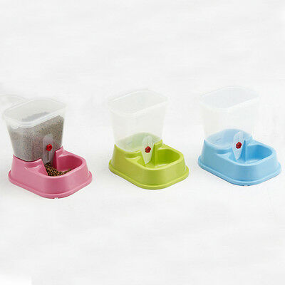 Pet Automatic Water Food Feeder Fountain Bowl Dish Dispenser for Dog Cat Puppy