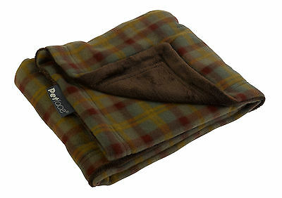 Country Check Pet Blanket Reversible Soft Fleece Petface Puppy Dog Comforter