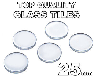 """25mm Clear Glass Round Tiles Circles (Flat Bottom - Flat Top) - 1 inch - 1"""""""