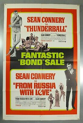 Thunderball And From Russia With Love - Original American One Sheet Movie Poster
