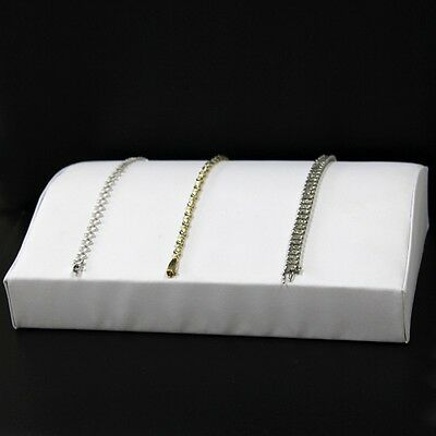Bracelet Display Large Contour Style White Faux Leather