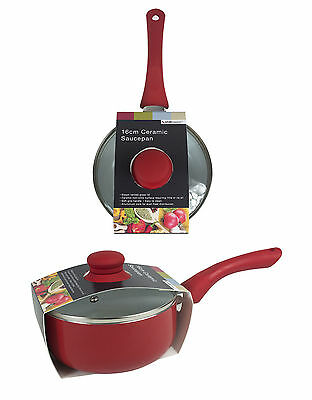 16Cm Non Stick Ceramic Coated Sauce Pan With Soft Touch Handle And Glass Lid