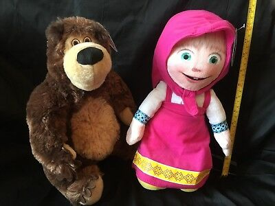 Masha And The Bear - Set Of Two Soft Plush Toys. From The Hit Tv Series - Bnwt