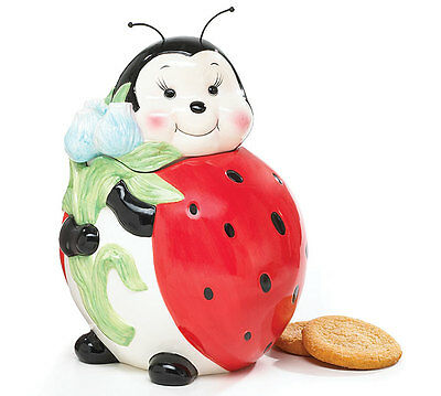 """Ladybug Cookie Jar Tall Standing Whimsical Red, Black, White, Holds Bouquet 10"""""""
