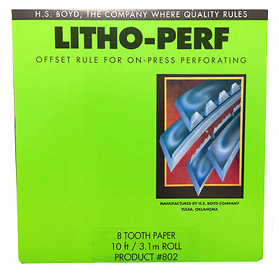 HS Boyd Litho Perf 8 Tooth / Paper 10 feet 3.1m Roll #802 Bindery Supplies