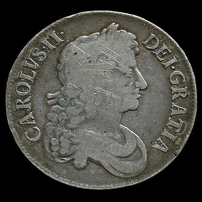 1673 Charles II Early Milled Silver Vicesimo Quinto Crown