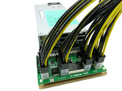 Breakout Board w/ 8 X 6 Pin to 6+2 PCIe Cables for HP PSU ETH, ZEC Open Mining