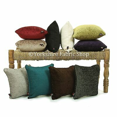 British Handmade Plain Shimmer Chenille Textured Fabric Filled Cushions & Cover