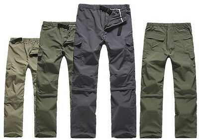 Men's Outdoor Quick Dry Short Pants Zip Off Leg Hiking Trousers Shorts Removable