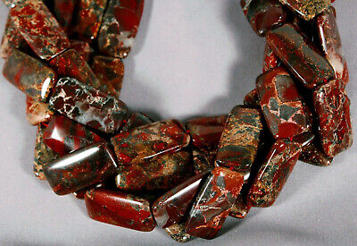 """AFRICAN RED BRECCIATED POPPY JASPER 30x15MM RECTANGLE BEADS 15.5"""" STR REDS GRAY"""